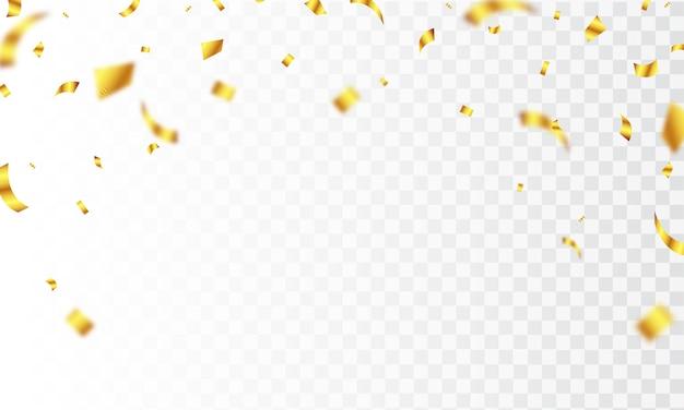 Modello di sfondo di celebrazione con nastri d'oro coriandoli.