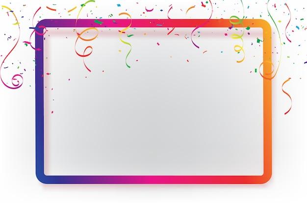 Modello di sfondo di celebrazione con nastri di confetti.