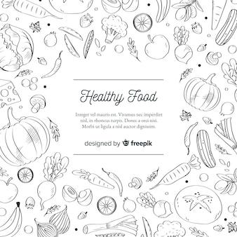 Modello di sfondo di cibo sano incolore
