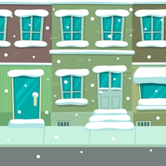 Modello di sfondo di scena di cartone animato città natale inverno