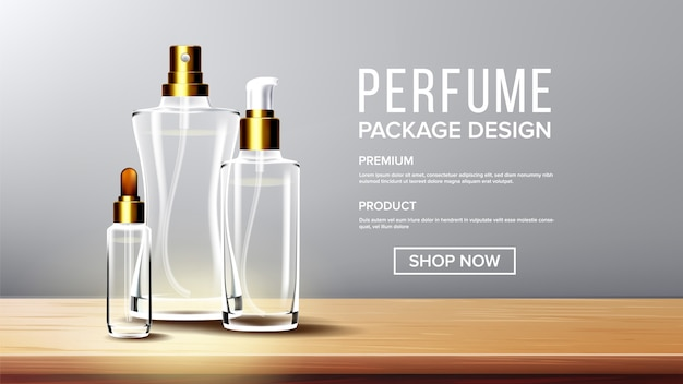 Modello di sfondo di vetro cosmetico
