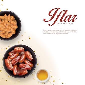 Modello di sfondo invito festa iftar con realistici piatti laici e mandorle. festival islamico di eid mubarak
