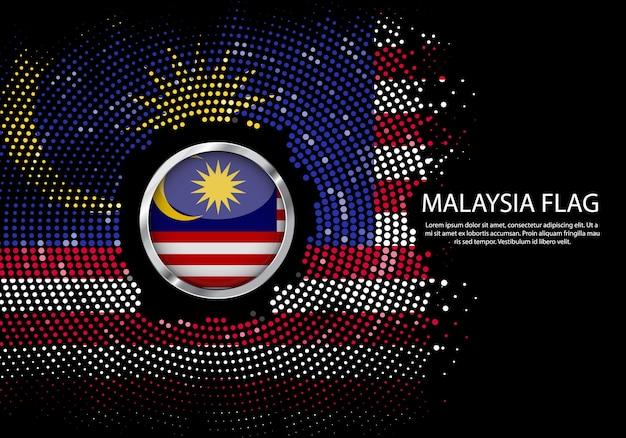 Modello di sfumatura di mezzitoni sfondo della bandiera della malesia.