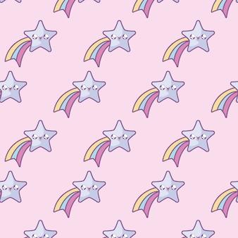 Modello di simpatiche stelle cadenti in stile kawaii