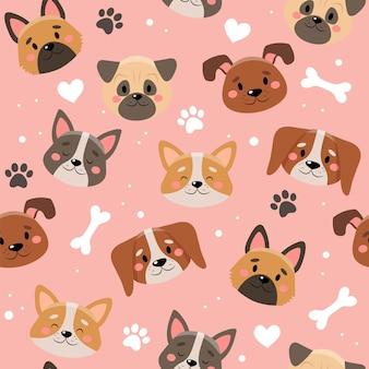 Modello di simpatici animali domestici con cani diversi.