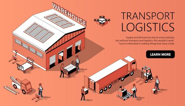 Modello di sito 3d isometrico - logistica dei trasporti