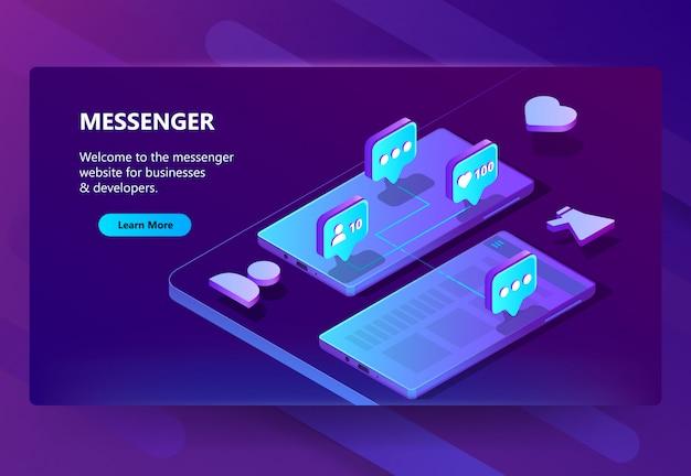 Modello di sito per messenger, chat online