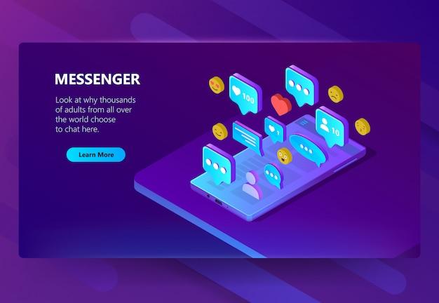 Modello di sito per messenger per adulti, chat
