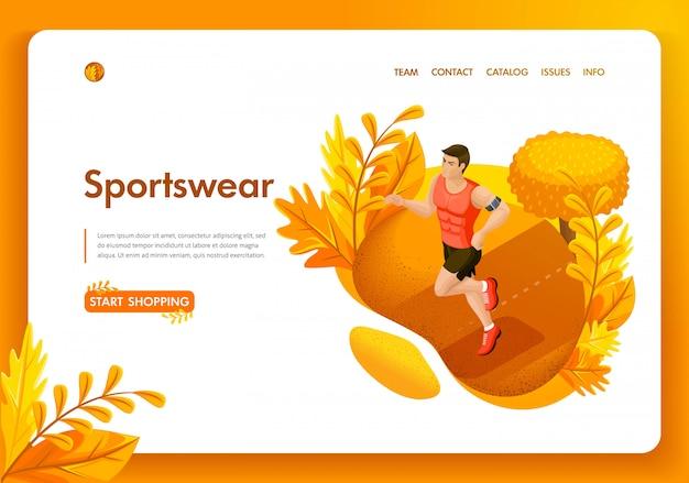 Modello di sito web. atleta maschio di autunno isometrico di concetto nel parco. negozio di abbigliamento sportivo e attrezzature. facile da modificare e personalizzare