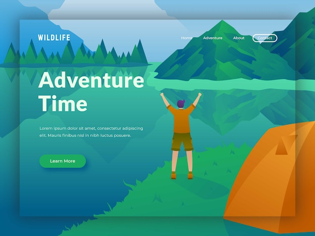 Modello di sito web campeggio da viaggio