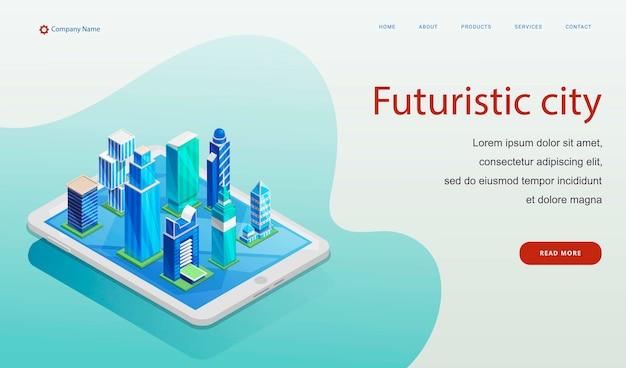 Modello di sito web città futuristica