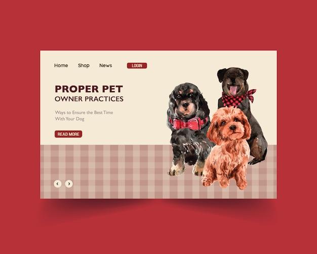Modello di sito web con cani