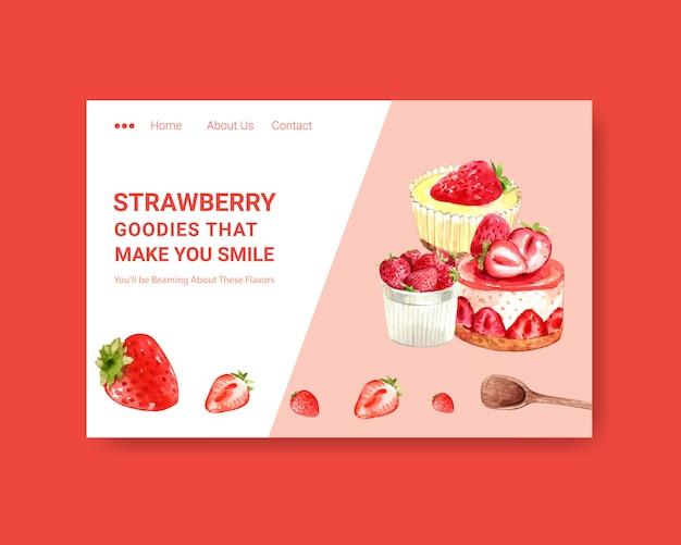 Modello di sito web con disegno di cottura della fragola