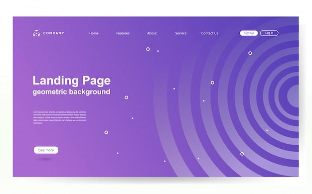 Modello di sito web con sfondo di forma geometrica