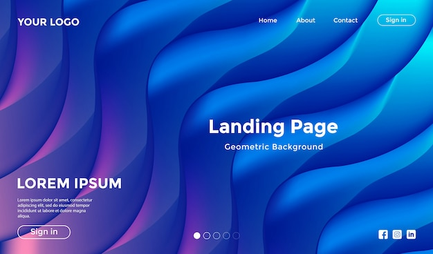 Modello di sito web con sfondo geometrico forma moderna