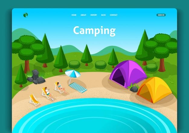 Modello di sito web. concetto isometrico concetto di avventure, viaggi ed eco turismo. tenda da campo turistica. facile da modificare e personalizzare