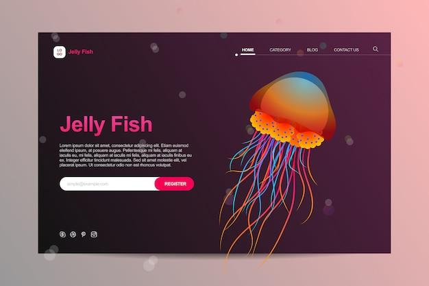 Modello di sito web dell'acquario in meduse colorate