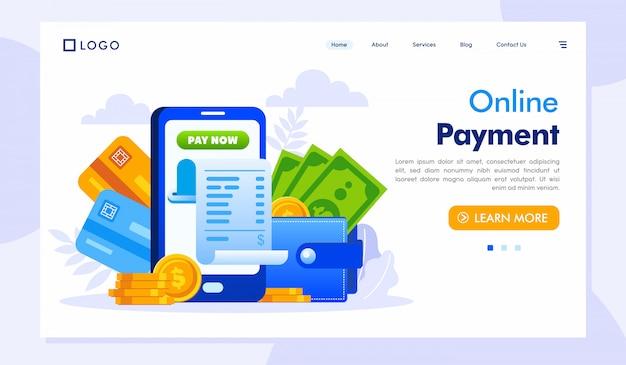 Modello di sito web della pagina di destinazione dei pagamenti online