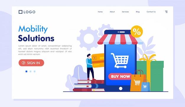 Modello di sito web della pagina di destinazione di mobility solutions