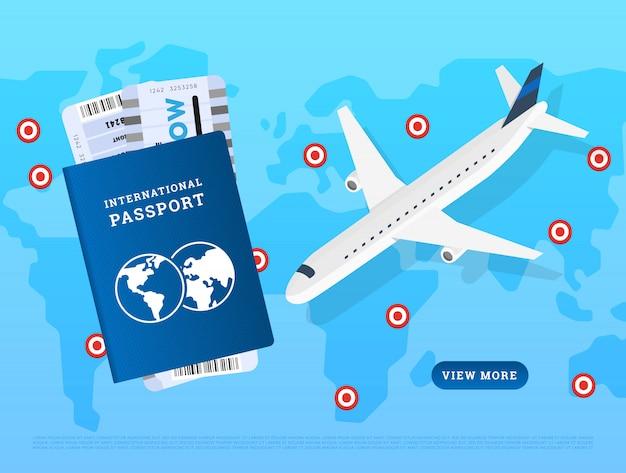 Modello di sito web della pagina di voli internazionali