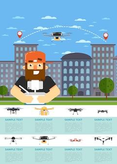 Modello di sito web di aerei drone con robot volante