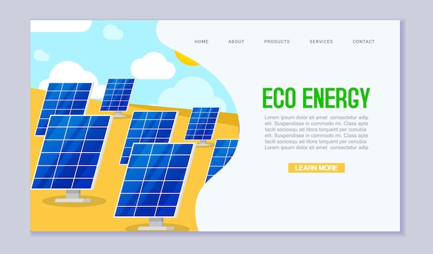 Modello di sito web di ecologia energia rinnovabile consumo di energia
