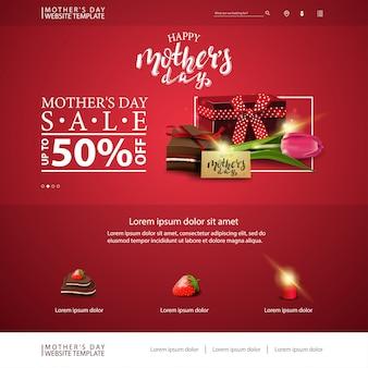 Modello di sito web di sconto festa della mamma con regalo, tulipano e caramelle