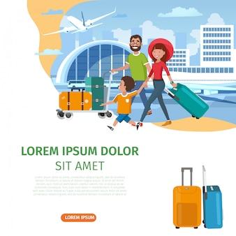 Modello di sito web di vettore di compagnia aerea dei cartoni animati