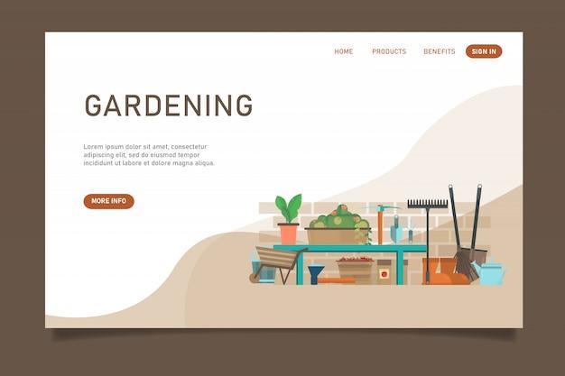 Modello di sito web giardinaggio marrone