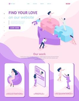 Modello di sito web isometrico conoscenza della pagina di destinazione, amore, incontro, persone che collegano parti di un grande cuore