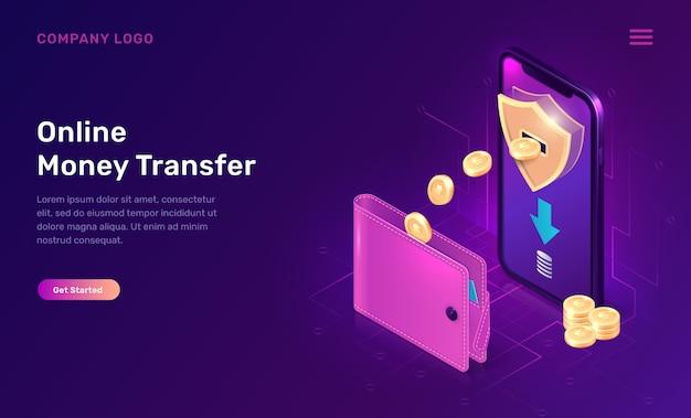 Modello di sito web isometrico di trasferimento di denaro online o rimborso