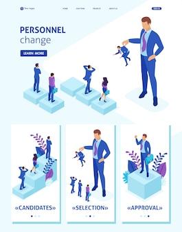 Modello di sito web isometrico il personale della pagina di destinazione cambia, il grande capo mantiene il dipendente spaventato dal resto.