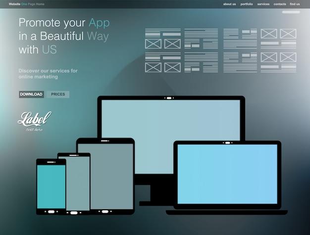 Modello di sito web moderno trasparente per una pagina per una vetrina di app