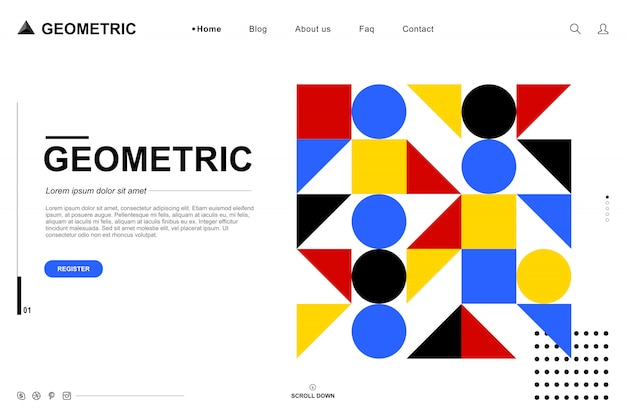 Modello di sito web nel concetto geometrico