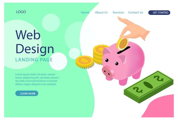 Modello di sito web. pagina web moderna illustrazione per lo sviluppo di siti web e siti web mobili.