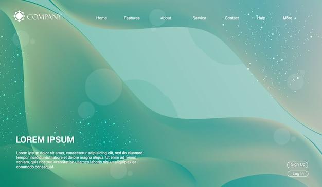 Modello di sito web per siti web o app. onde fluido liquido gradiente minimal moderno