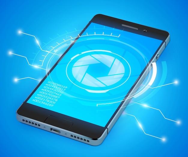 Modello di smartphone 3d realistico con il concetto di interfaccia utente