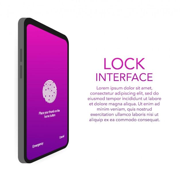Modello di smartphone password autenticazione blocco schermo. illustrazione della password di blocco dello schermo di riconoscimento id telefono o dei numeri di codice di accesso della schermata di blocco visualizzati.