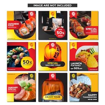 Modello di social media alimentare per la promozione del ristorante