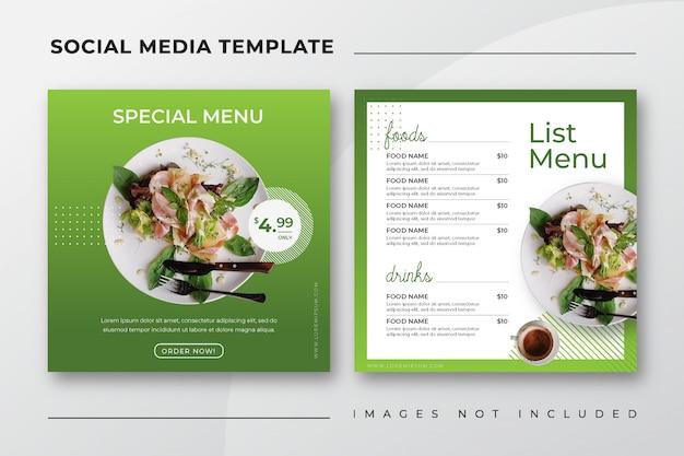 Modello di social media post instagram instagram per il menu del ristorante culinario