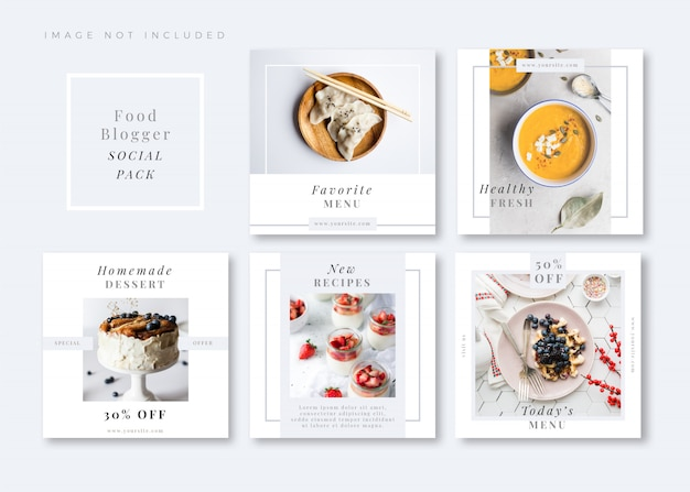 Modello di social media quadrato bianco pulito e semplice foodie