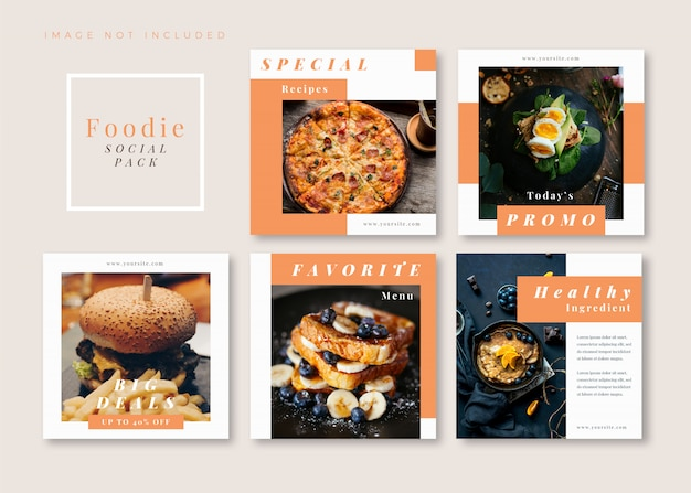 Modello di social media quadrato foodie pulito semplice per instagram, facebook, carosello.