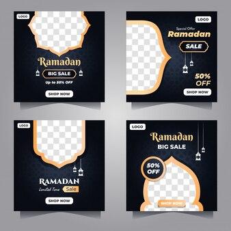 Modello di social media vendita ramadan con stile scuro