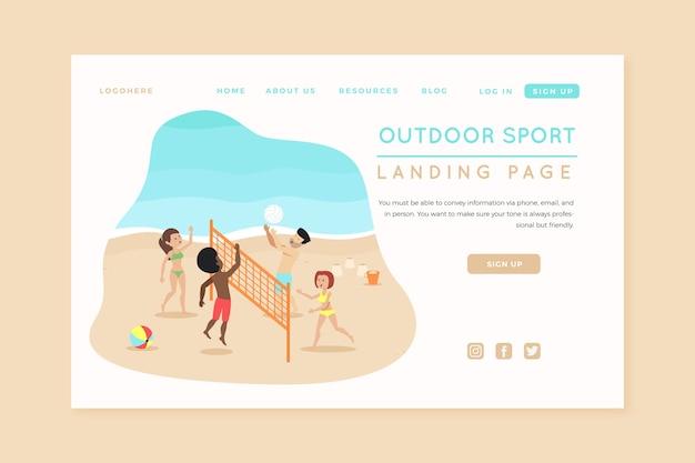 Modello di sport all'aperto pagina di destinazione