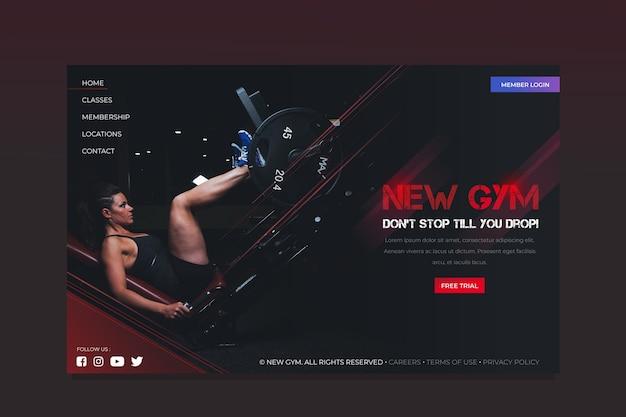 Modello di sport della pagina di destinazione con immagine