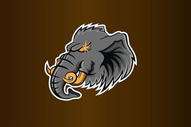 Modello di squadra logo esport testa di elefante