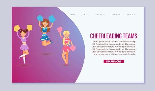 Modello di squadre cheerleading di professione di scuola superiore per la pagina web