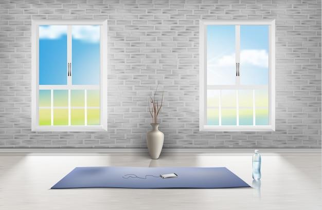 Modello di stanza vuota con muro di mattoni, due finestre, moquette blu, vaso e bottiglia d'acqua
