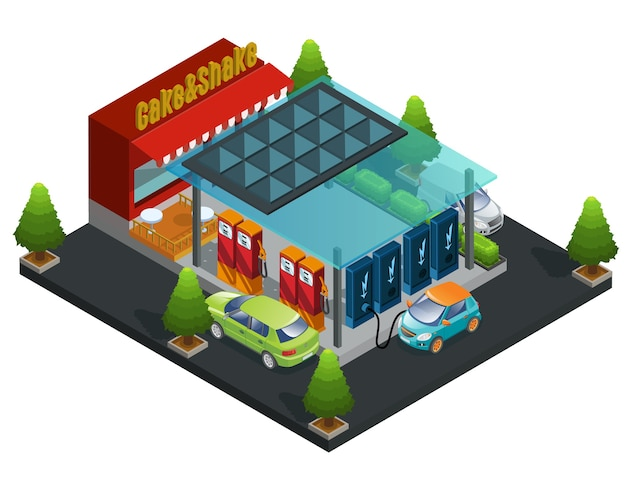 Modello di stazione isometrica di benzina e caricabatterie