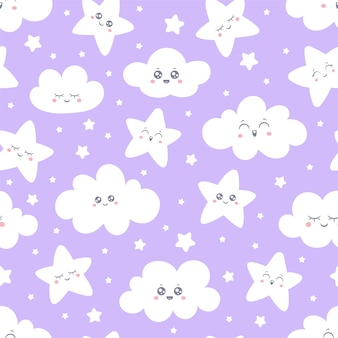 Modello di stelle e nuvole sorridente viola senza cuciture per il tessuto del pigiama del bambino.